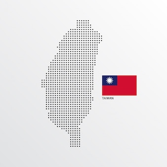 Taiwan map design with flag and light background vector