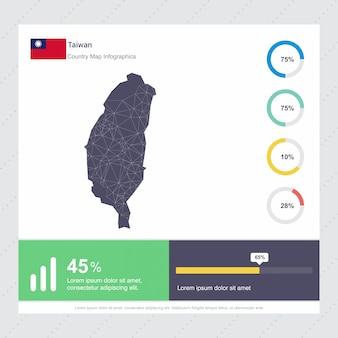 Taiwan map & flag infographics template