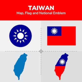 Taiwan map, flag and national emblem