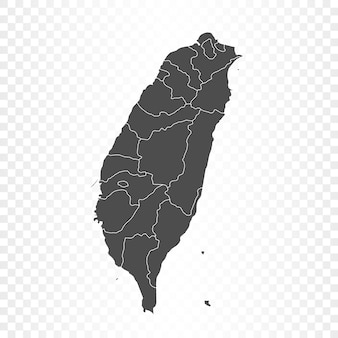 Taiwan map isolated rendering