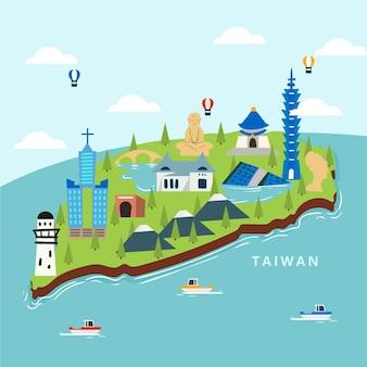 ランドマークの概念と台湾地図