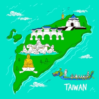 Taiwan map with landmarks illustration