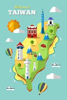 Taiwan map with landmarks