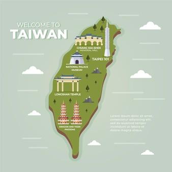 ランドマークと台湾の地図