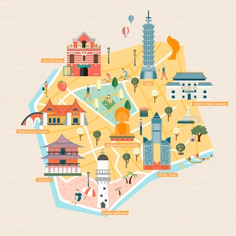 Taiwan travel concept - landmarks    style