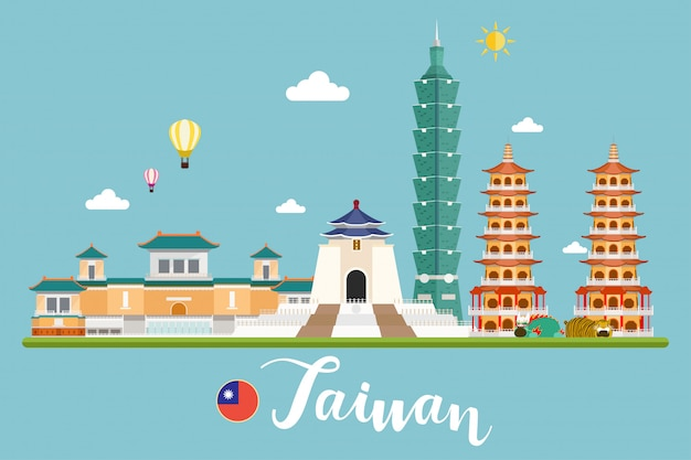 Taiwan travel landscapes vector illustration