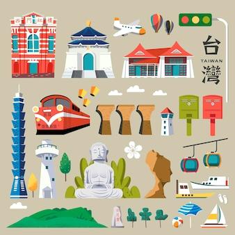 대만 여행지도, 중국어 단어가 오른쪽 상단에 대만, 빨간색 건물에 the redhouse