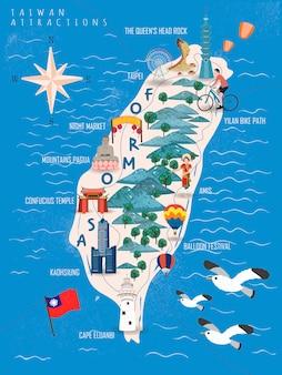 Тайвань туристический плакат, карта тайваня с известными достопримечательностями