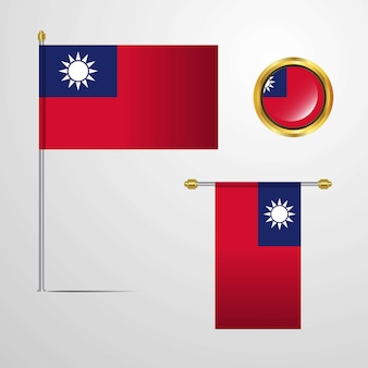 Taiwan waving flag design with badge vector