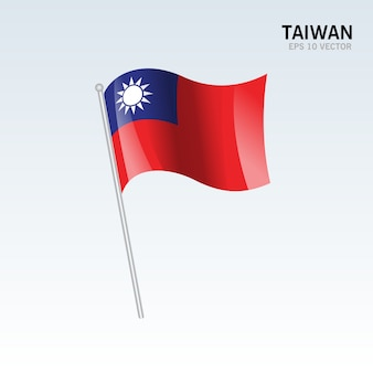 회색 배경에 고립 된 깃발을 흔들며 대만