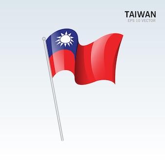 グレーに分離された台湾手を振る旗
