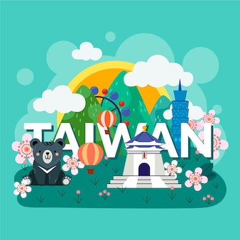 Taiwan word with colorful landmarks