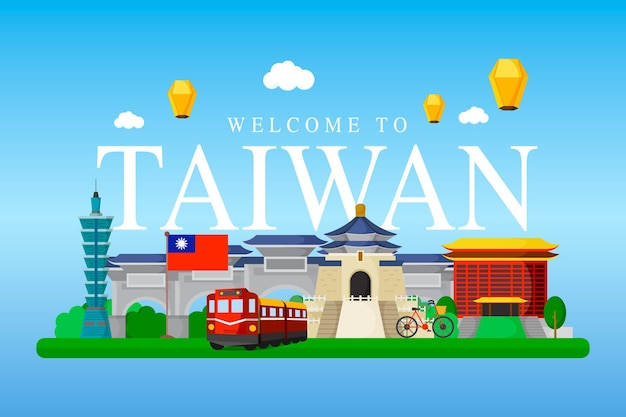 Taiwan word with landmarks illustrated