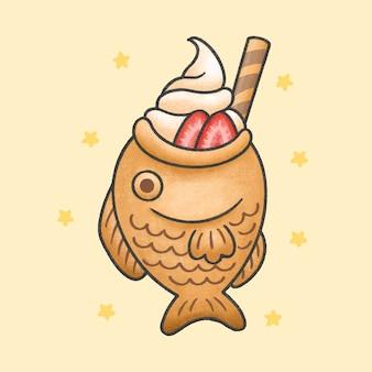 Taiyaki ice cream with strawberry dessert cartoon hand drawn style
