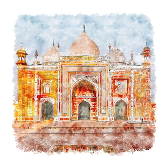 Тадж-махал агра город индия акварельный эскиз рисованной