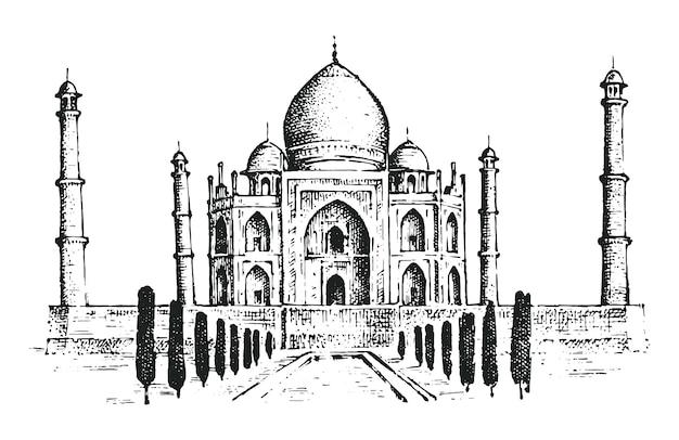 Тадж-махал древний дворец в индии. ориентир или архитектура, индуистский храм.