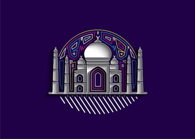 Taj mahal art india agra  outline for design vector illustration