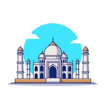タージ・マハル漫画アイコンイラスト。有名な建物旅行アイコンのコンセプトが分離されました。フラット漫画のスタイル