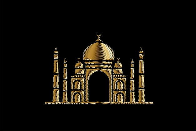 Taj mahal gold icon, india agra - vector illustration.