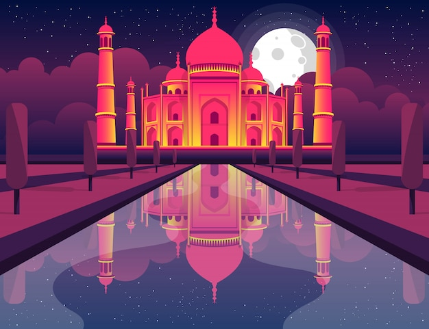 Taj mahal india design illustration. concept art.