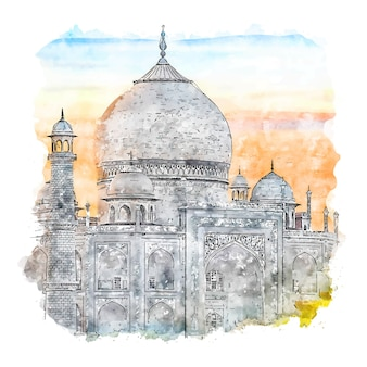 Taj mahal india watercolor sketch hand drawn illustration