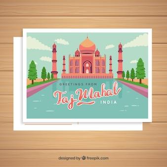 Taj mahal postcard template with hand drawn style