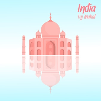 Taj mahal vector illustration with lettering, text