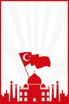 Taj mahal with turkey flag country isolated vector illustration design