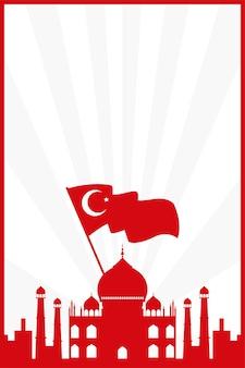 Тадж-махал с флагом турции страна изолированных векторные иллюстрации дизайн