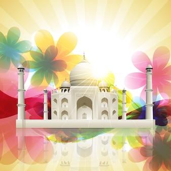 Красивый вектор taj mahal на фоне художественного цветка