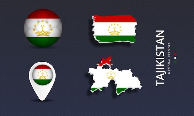 Tajikistan national country wave flag set