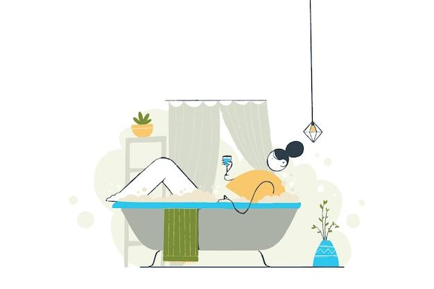 Принять ванну иллюстрация