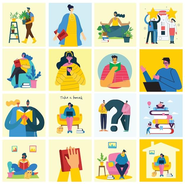 コラージュのイラストを一休み。人々は休憩してコーヒーを飲み、椅子とソファーでタブレットを使います。フラットなモダンスタイル。