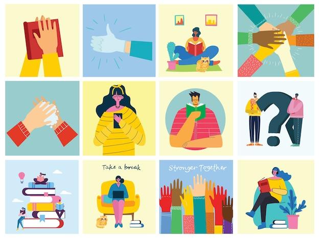 休憩コラージュのイラストを撮ります。人々は休息を取り、コーヒーを飲み、椅子とソファにタブレットを使用します。フラットモダンなスタイル。