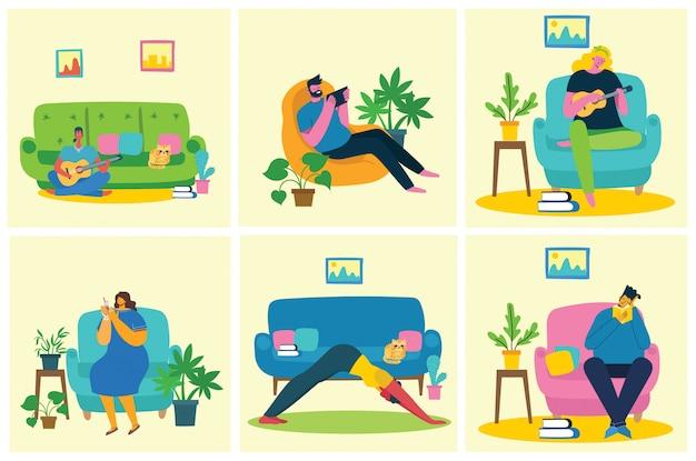 コラージュのイラストを一休み。人々は休憩してコーヒーを飲み、椅子とソファーでタブレットを使います。フラットな近代的なベクトルスタイル。