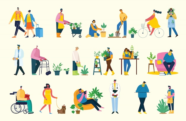 Сделайте иллюстрацию коллажа перерыва. люди отдыхают и пьют кофе, используют планшет на стуле и диване. плоский стиль.