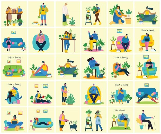 コラージュのイラストを一休み。人々は休憩してコーヒーを飲み、椅子とソファーでタブレットを使います。フラットのベクタースタイル。