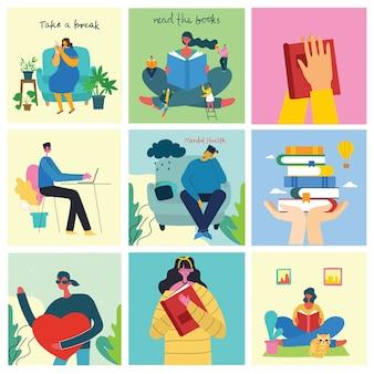 休憩イラストセットをどうぞ。人々は休憩してコーヒーを飲み、椅子とソファーでタブレットを使います。フラットなモダンスタイル。