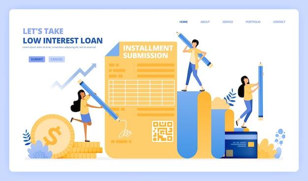 저금리 대출 계약서를 작성하십시오. 신용 카드 할부 프로그램. 그림 개념은 방문 페이지, 템플릿에 사용할 수 있습니다.