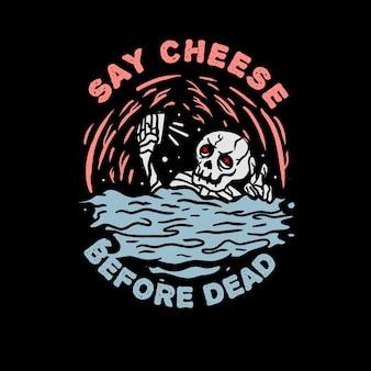 Tshirt에 대한 셀카 해골 그림을 가져 가라.