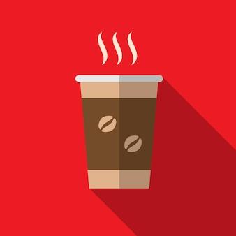 Забрать кофе плоский значок иллюстрации изолированных вектор знак символ
