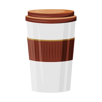 Take away drinks cartoon illustration. coffee to go flat color object. tea take out. coffeehouse order delivery. cappuccino, americano. disposable cup isolated on white background