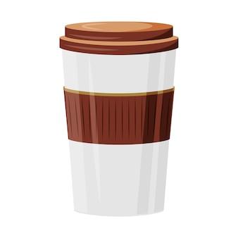 飲み物の漫画イラストをテイクアウトします。単色のオブジェクトに行くコーヒー。お茶のテイクアウト。喫茶店の注文配達。カプチーノ、アメリカーノ。白い背景で隔離の使い捨てカップ