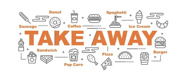 Take away food vector banner