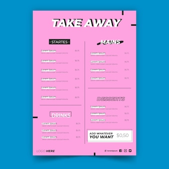 Take away pink restaurant menu