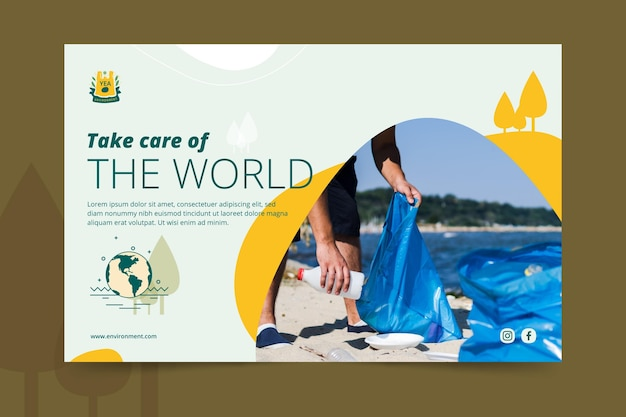 Take care of the world environment banner template