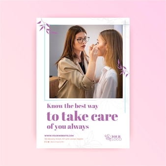 Take care of your skin cosmetic flyer template