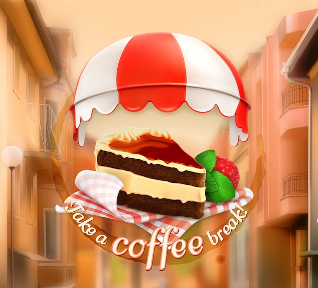 Take a coffee break, cafe decoration, poster card, vector illustration