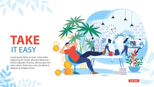 Take it easy and relax motivating landing page
