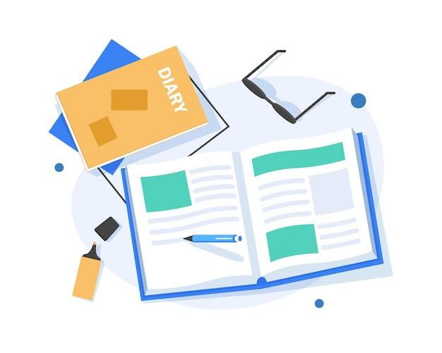 日記、フラットなデザインのイラストに注意してください